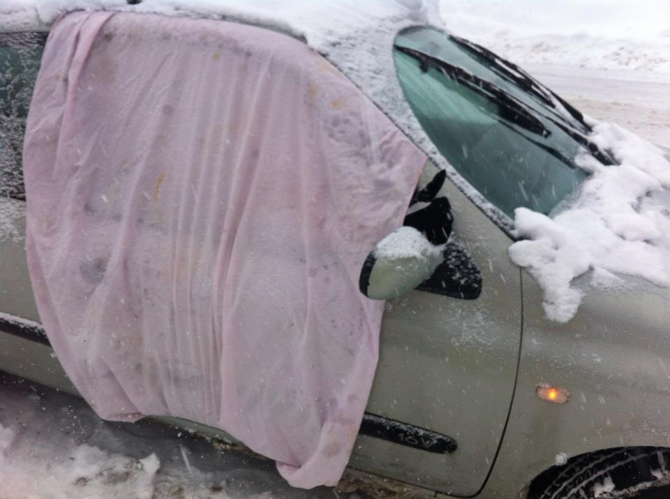 mending your car with a bedsheet