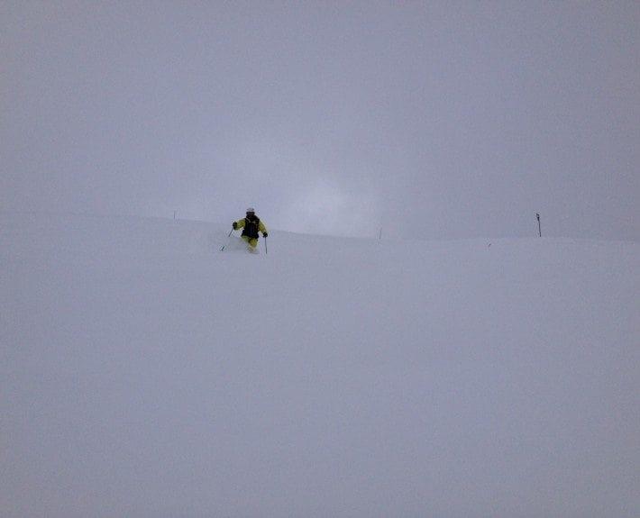 Pete skiing powder on empty mountain