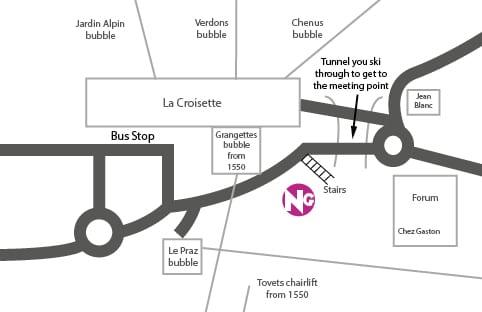 Courchevel 1850 Ski School Meeting Point Map