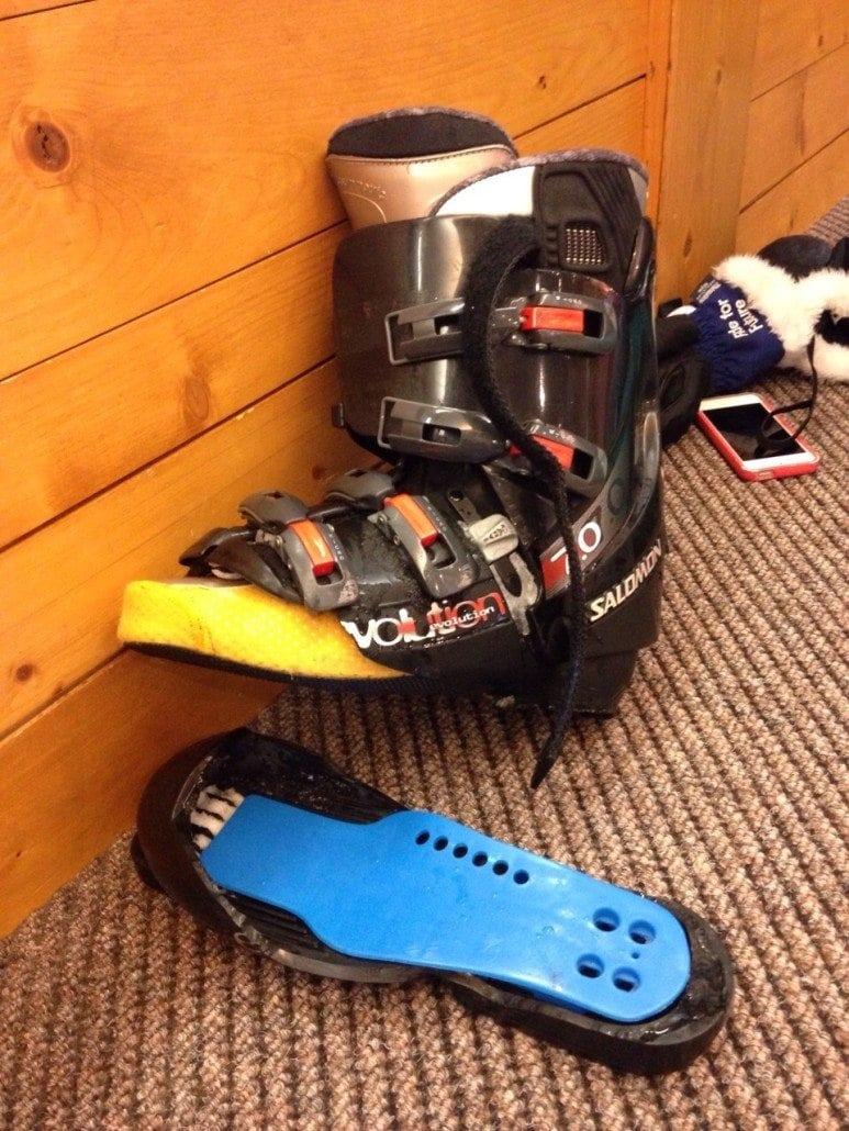 broken ski boots