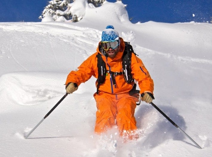 Pete skiing off piste in Courchevel trees