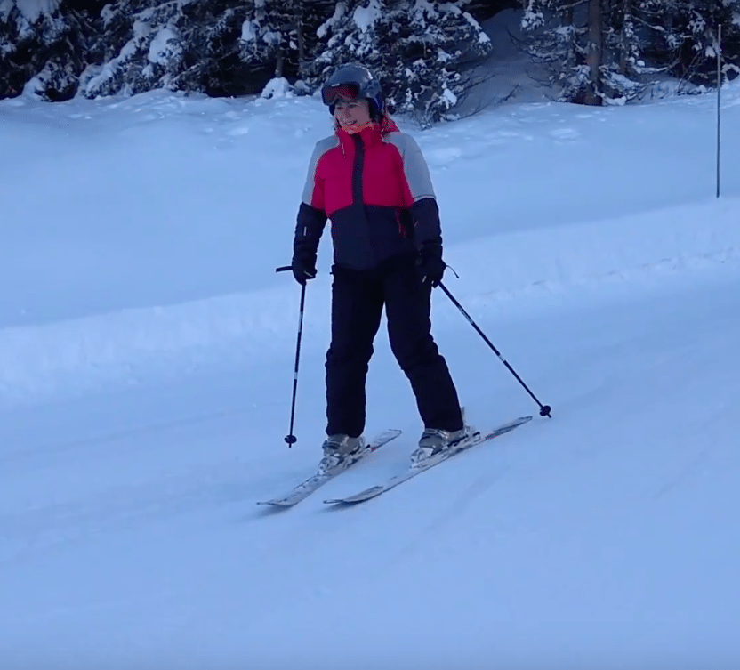 woman's first time skiing vlog