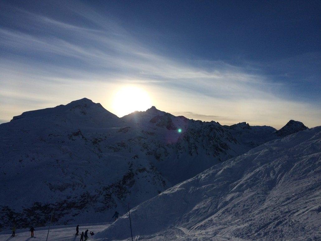 Sun going down on Tignes