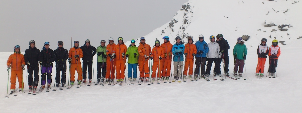 New Generation Verbier SMASHES ski training. From left to right: BASI Ski Gap course, Nendaz ISIA (BASI 3) work + train programme, Verbier ISTD (BASI 4) Training Team AND some of our ski school bombers (the next generation of instructors?)