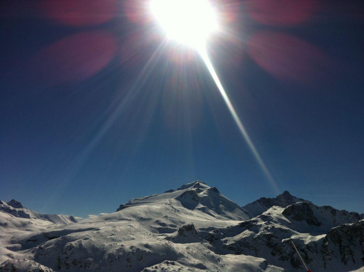 Sun shining over Tignes Glacier this week